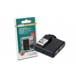 Digitus HUB/Koncentrator mini 4-portowy USB 2.0 SuperSpeed, pasywny, czarny