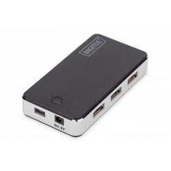 Digitus HUB/Koncentrator 7-portowy USB 2.0 HighSpeed, aktywny, czarno-srebrny
