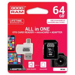 GOODRAM microSDHC 64GB CL10 + ADAPTER + CZYTNIK