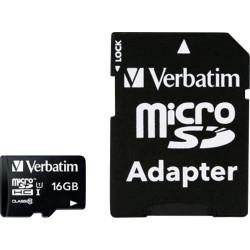 Verbatim Micro SDHC 16GB Class10 UHS-I + Adapter