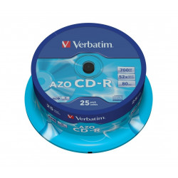 Verbatim CD-R 52x 700MB 25P CB DLP Crystal 43352