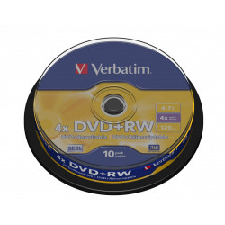 Verbatim DVD+RW 4x 4.7GB 10P CB             43488