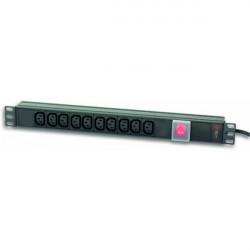 Techly Listwa zasilająca Rack 19 cali do UPS 250V/10A, 10 gniazd, 2m   czarna