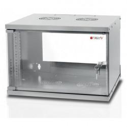Techly Szafa wisząca ECO 19cali 6U/320mm zmontowana, szklane drzwi, szara