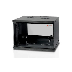 Techly Szafka wisząca ECO 19cali 6U/450mm szklane drzwi zmontowana czarna