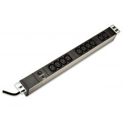 """Digitus Listwa zasilająca PDU 19"""" RACK 10xC13, 2m 1xC14, 10A, zab.przeciążeniowe, aluminiowa"""