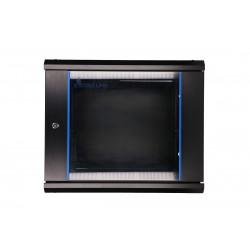 Extralink Szafka wisząca rack 9U 600x600 czarna szklane drzwi