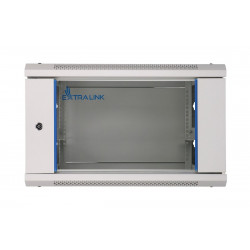 Extralink Szafka wisząca rack 6U 600x450 czarna szklane drzwi