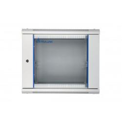 Extralink Szafka wisząca rack 9U 600x450 szara szklane drzwi