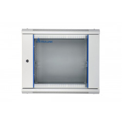 Extralink Szafka wisząca rack 9U 600x600 szara szklane drzwi