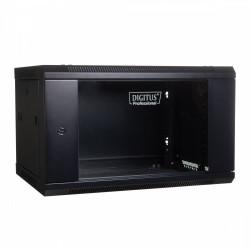Digitus Szafa wisząca jednosekcyjna 19 4U 279/600/450mm, drzwi szklane, czarna (RAL 9004)
