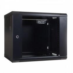 Digitus Szafa wisząca jednosekcyjna 19 9U 501/600/450mm, drzwi szklane, czarna (RAL 9004)