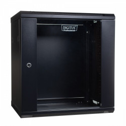 Digitus Szafa wisząca jednosekcyjna 19 12U 635/600/450mm, drzwi szklane, czarna (RAL 9004)