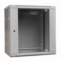Digitus Szafa wisząca jednosekcyjna 19 12U 635/600/600mm, drzwi szklane, szara (RAL 7035)