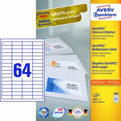 Avery zweckform Uniwersalne etykiety samoprzylepne, 48,5 x 16,9mm, białe, do drukarki, 6400 sztuk