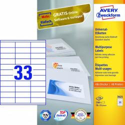 Avery zweckform Uniwersalne etykiety samoprzylepne, 70 x 25,4mm, białe, do drukarki, 3300 sztuk