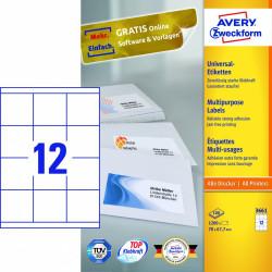 Avery zweckform Uniwersalne etykiety samoprzylepne, 70 x 67,7mm, białe, do drukarki, 1200 sztuk