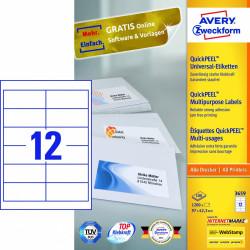 Avery zweckform Uniwersalne etykiety samoprzylepne, 97 x 42,3mm, białe, do drukarki, 1200 sztuk