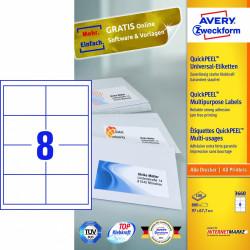 Avery zweckform Uniwersalne etykiety samoprzylepne, 97 x 67,7mm, białe, do drukarki, 800 sztuk