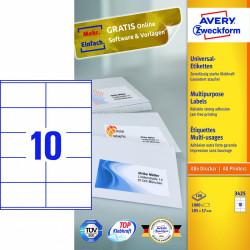 Avery zweckform Uniwersalne etykiety samoprzylepne, 105 x 57mm, białe, do drukarki, 1000 sztuk