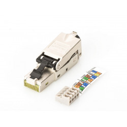 Digitus Wtyczka ekranowana RJ45 kat.6A do montażu AWG 22-27, 10 GBit Ethernet, PoE+