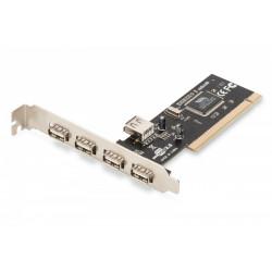Digitus Karta rozszerzeń (Kontroler) USB 2.0 PCI 4xZewnętrzny 1xWewnętrzny USB 2.0 Chipset: VIA 6212