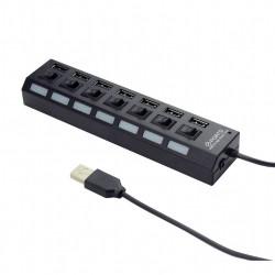 Gembird Hub USB 2.0, 7-portowy z przełącznikami, czarny
