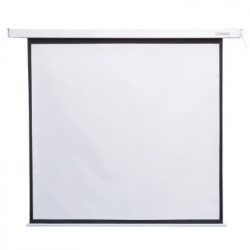 4world Ekran projekcyjny elektryczny, ścienny, sufitowy z pilotem 152X152 1:1 matowy biały