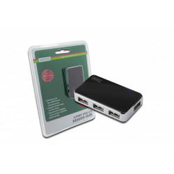 Digitus HUB/Koncentrator 4-portowy USB 2.0 HighSpeed, aktywny, czarno-srebrny