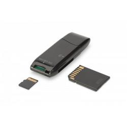 Digitus Czytnik kart 2-portowy USB 2.0 HighSpeed SD/Micro SD, kompaktowy, czarny
